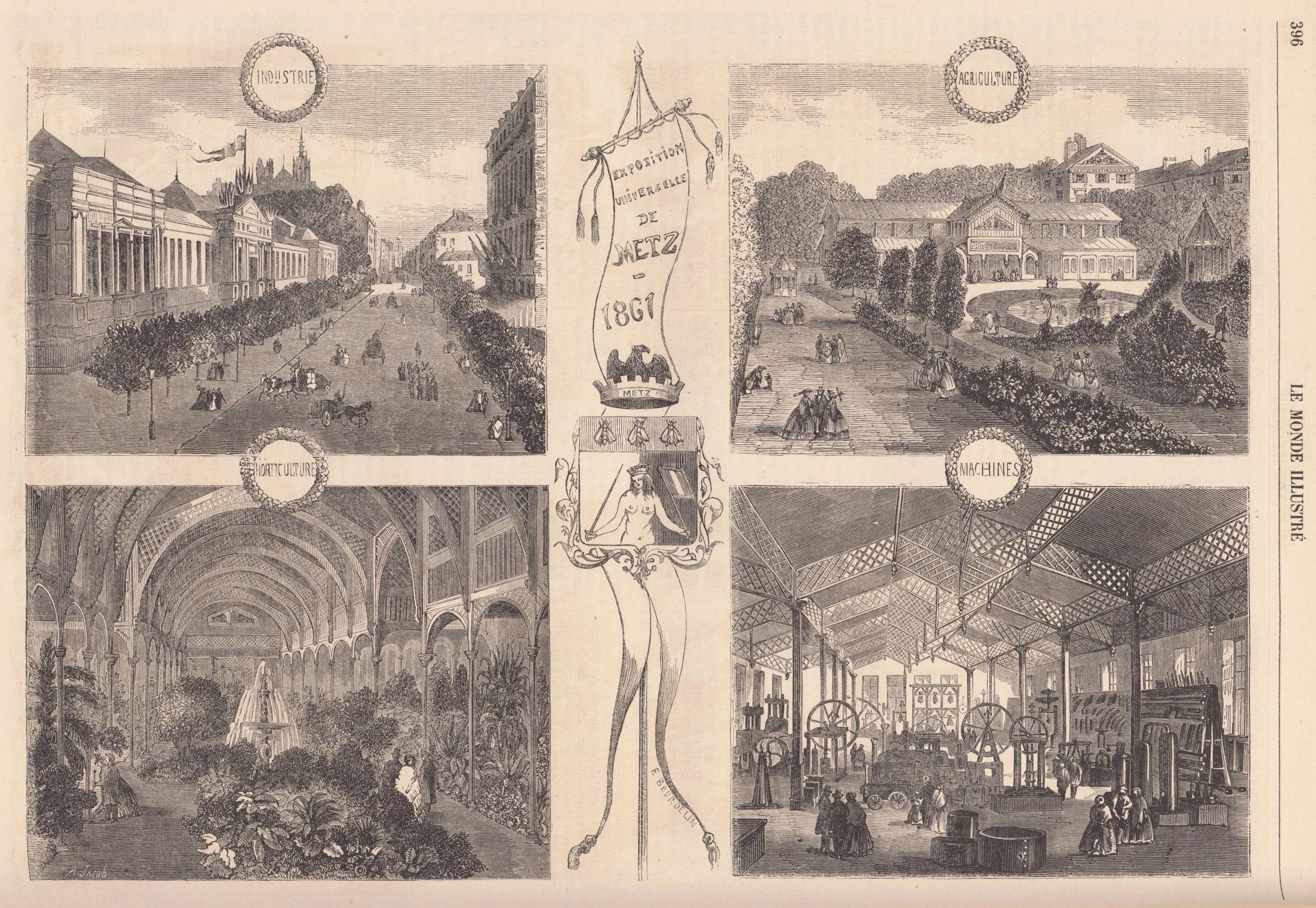 Contenu du Gravures sur l'Exposition universelle de Metz, extraites du Monde illustré du 22 juin 1861 (source : Gallica).