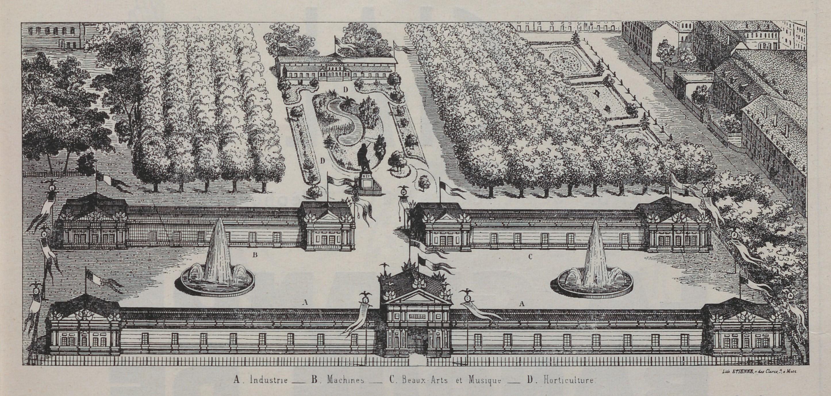 Contenu du Plan de l'Exposition universelle de Metz (extrait de Centenaire de l'exposition universelle de Metz)