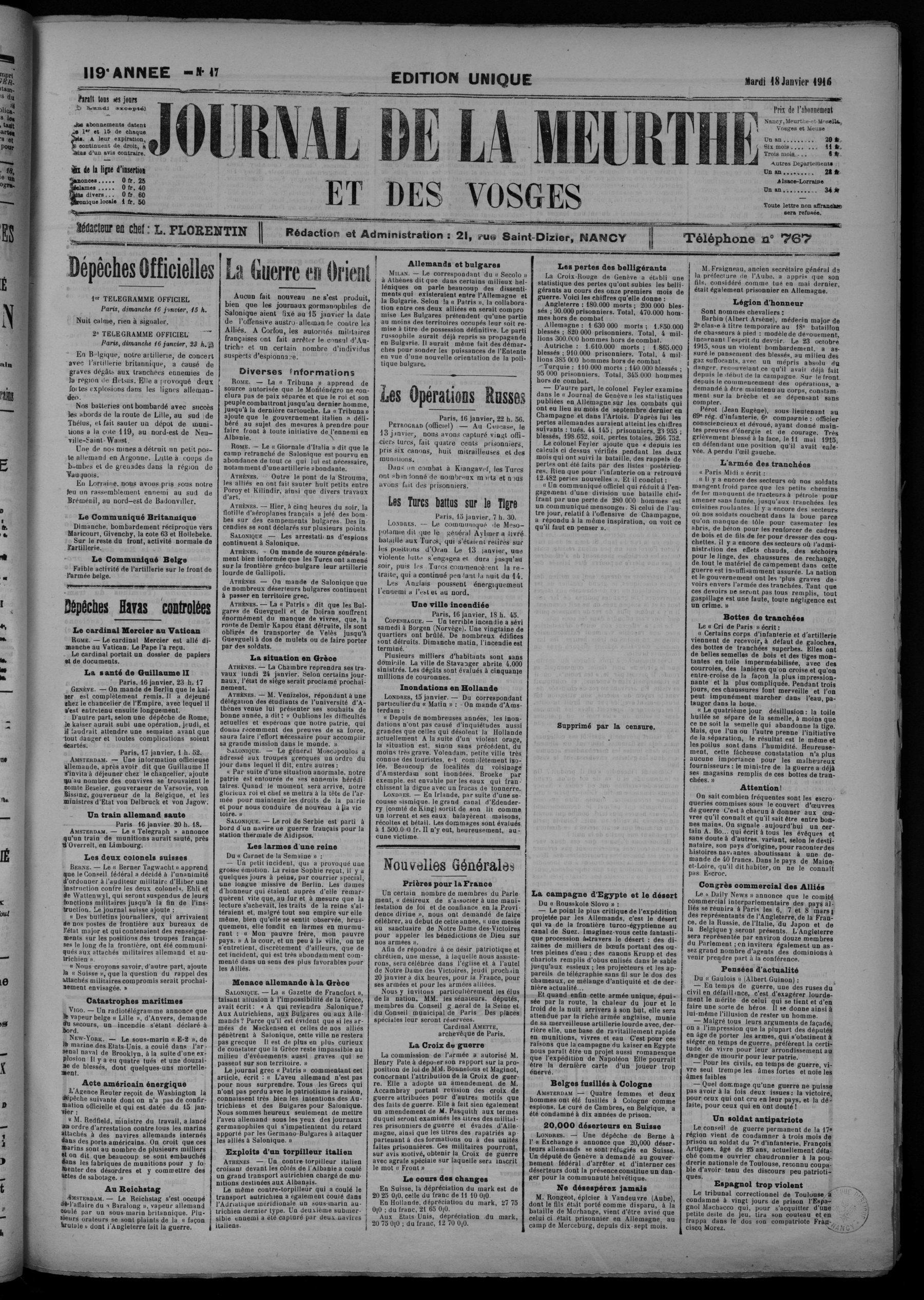 Contenu du Journal de la Meurthe et des Vosges