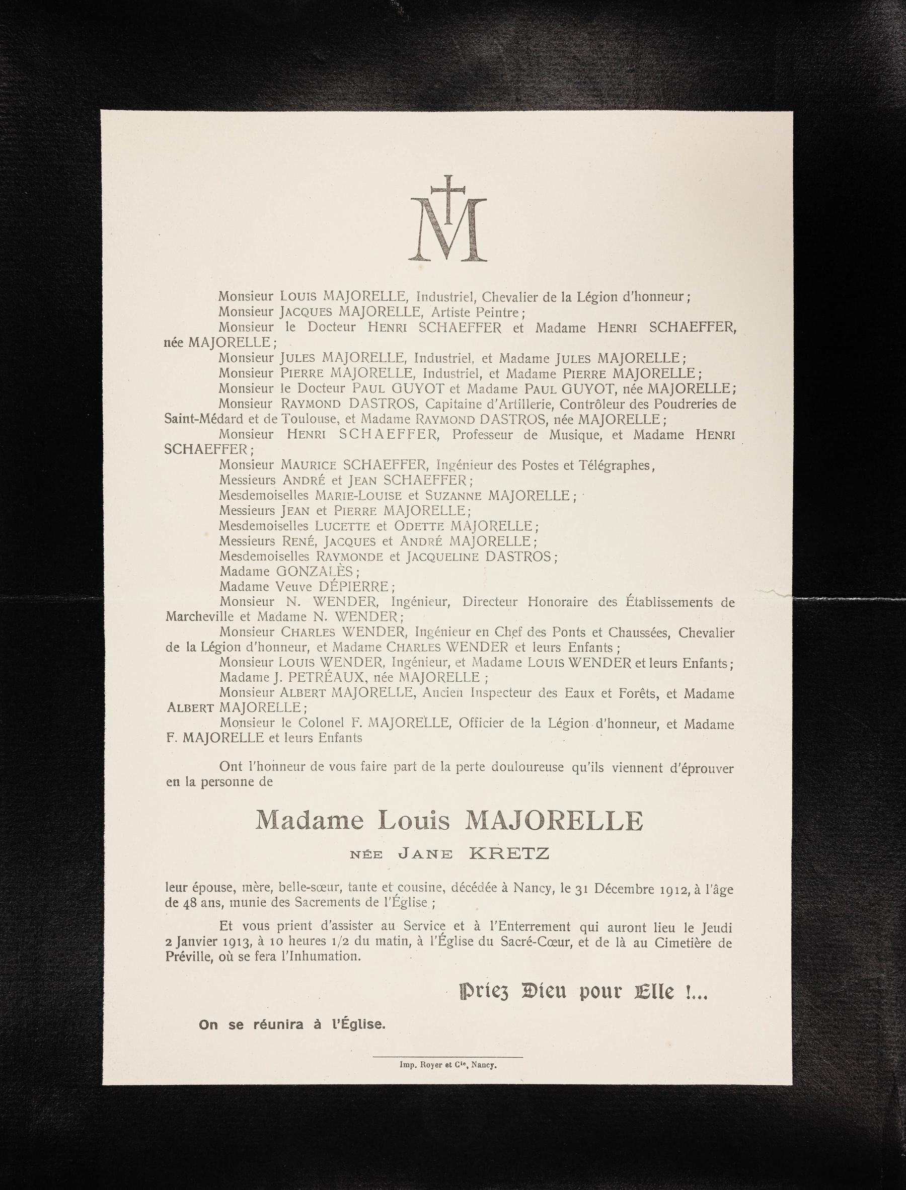 Contenu du Faire part de décès de Madame Louis Majorelle née Jane Kretz