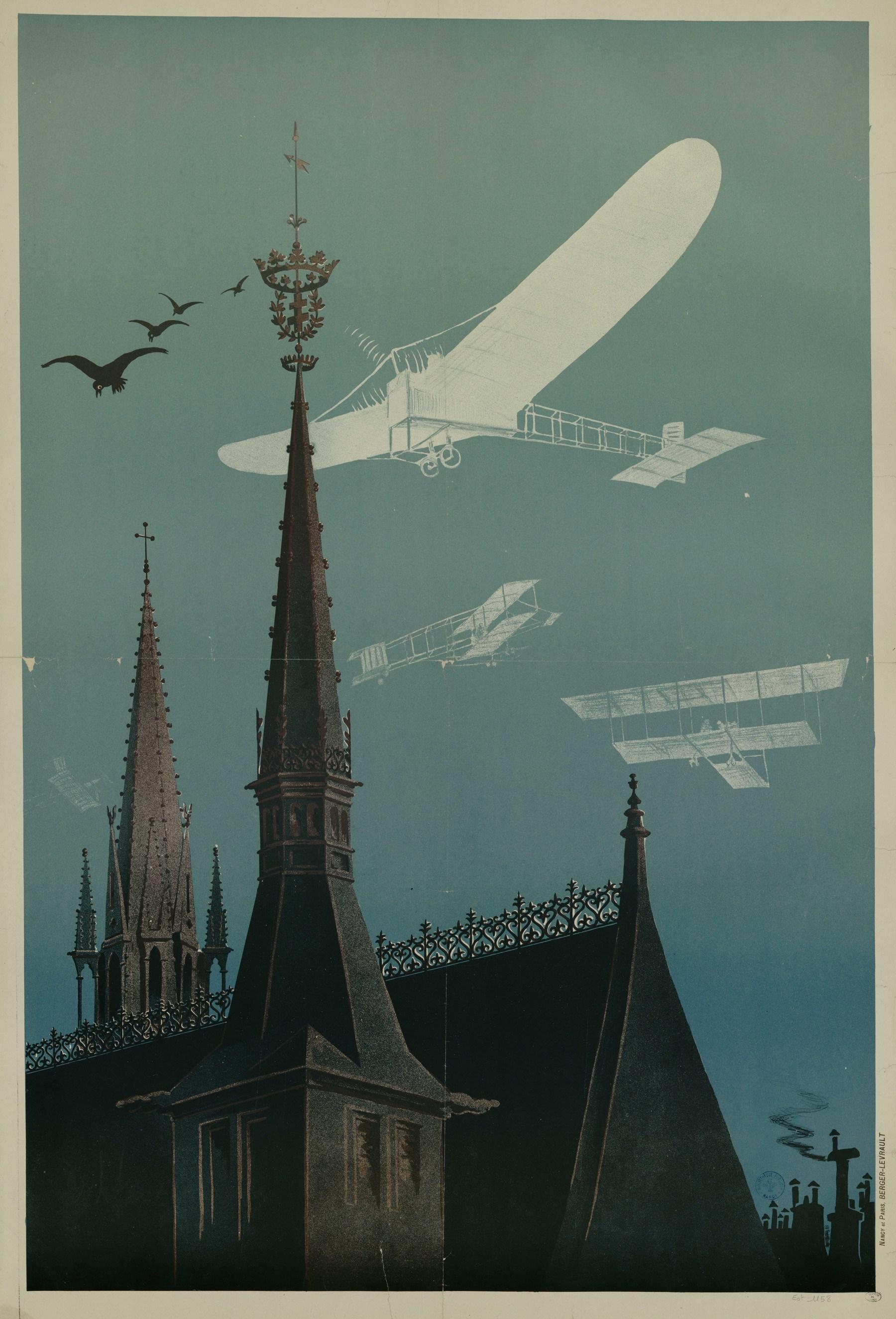 Contenu du [Vol d'avions au dessus du Palais Ducal et de l'Eglise Saint-Epvre]