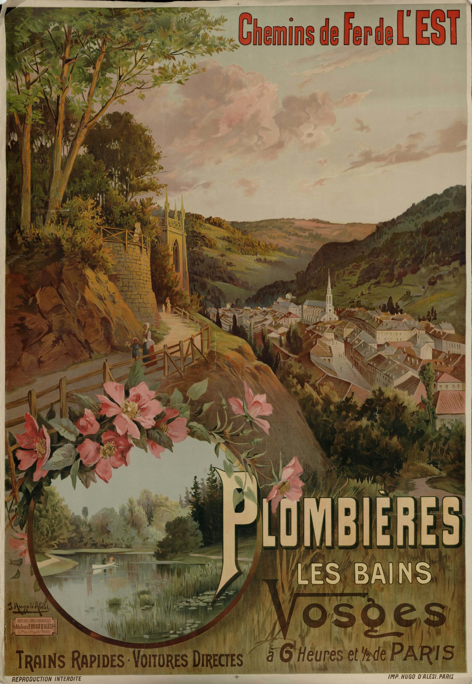 Contenu du Chemins de fer de l'Est : Plombières les Bains. Vosges. Trains rapides, voitures directes à 6 heures et 1/2 de Paris