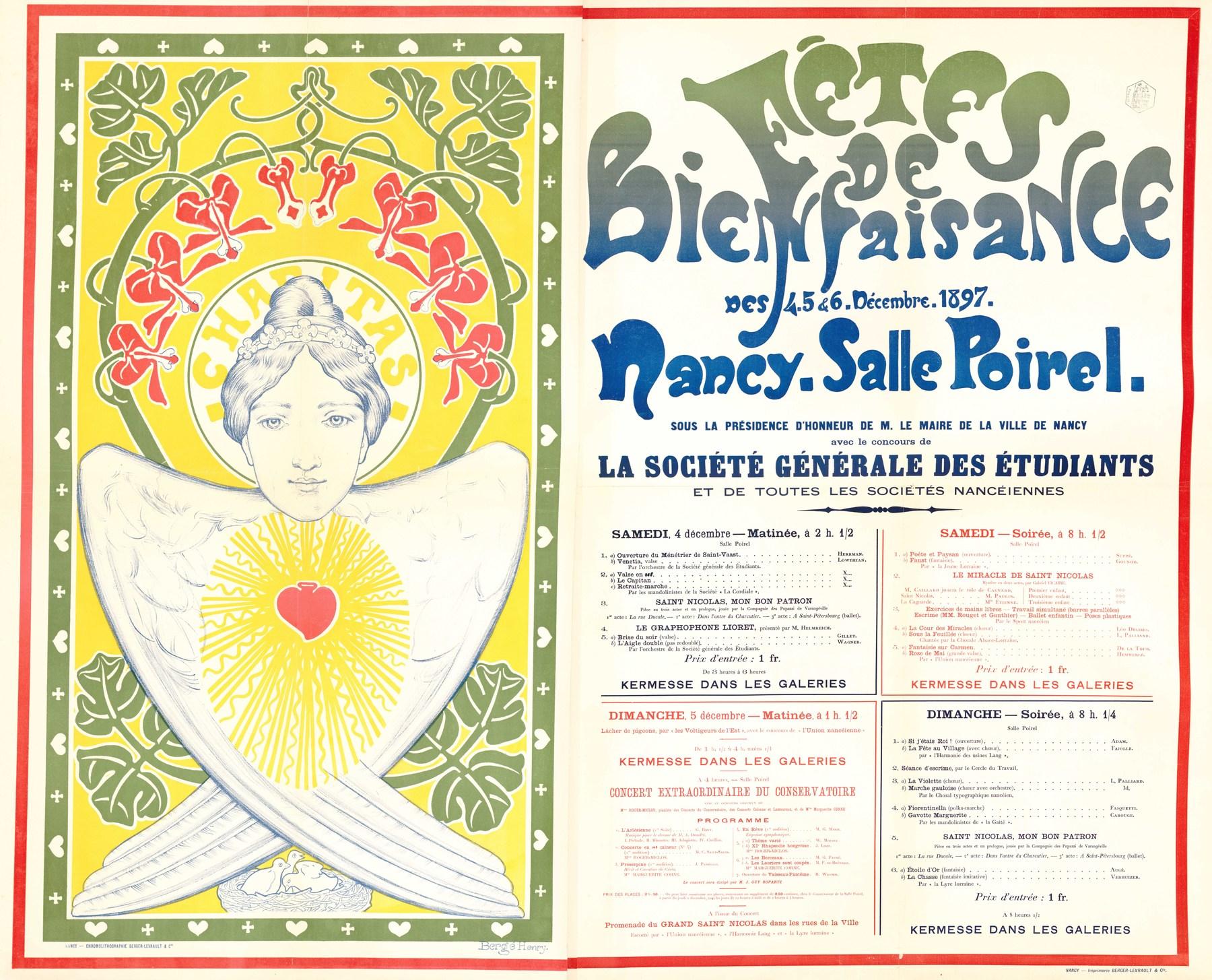Contenu du Fêtes de bienfaisance des 4, 5 & 6 décembre 1897 Nancy , salle Poirel