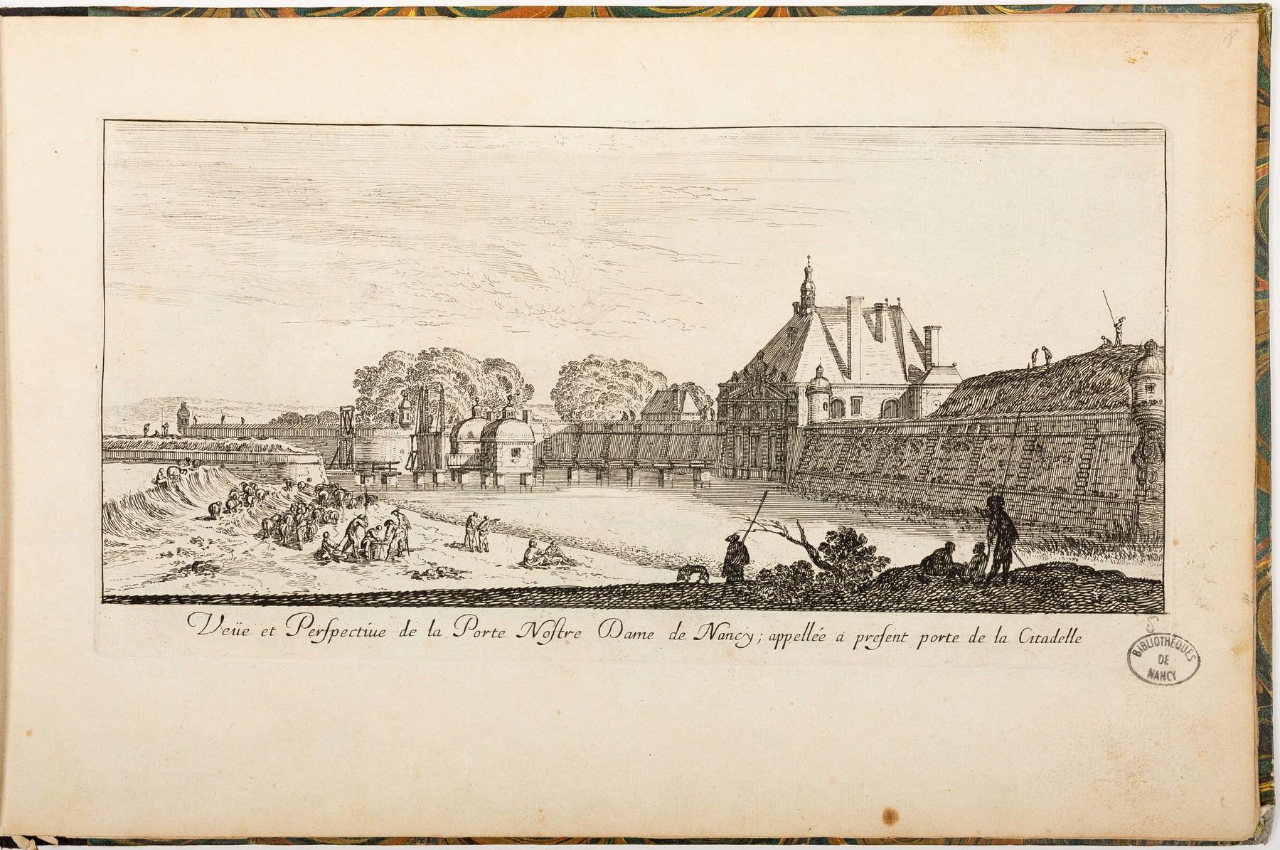 Contenu du Veüe et Perspective de la Porte Nostre Dame de Nancy; appelée à présent porte de la Citadelle
