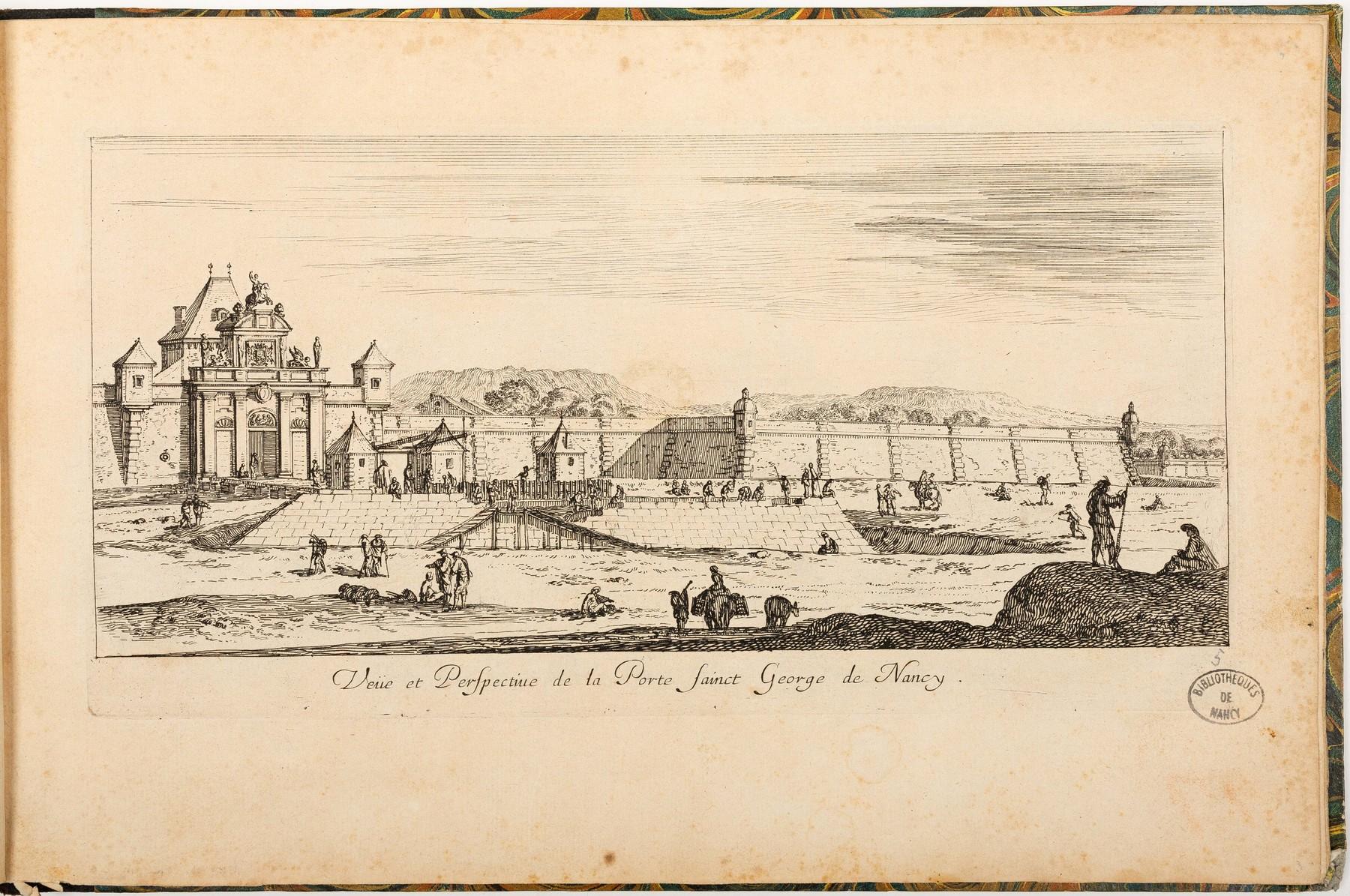 Contenu du Veüe et Perspective de la Porte Sainct George de Nancy