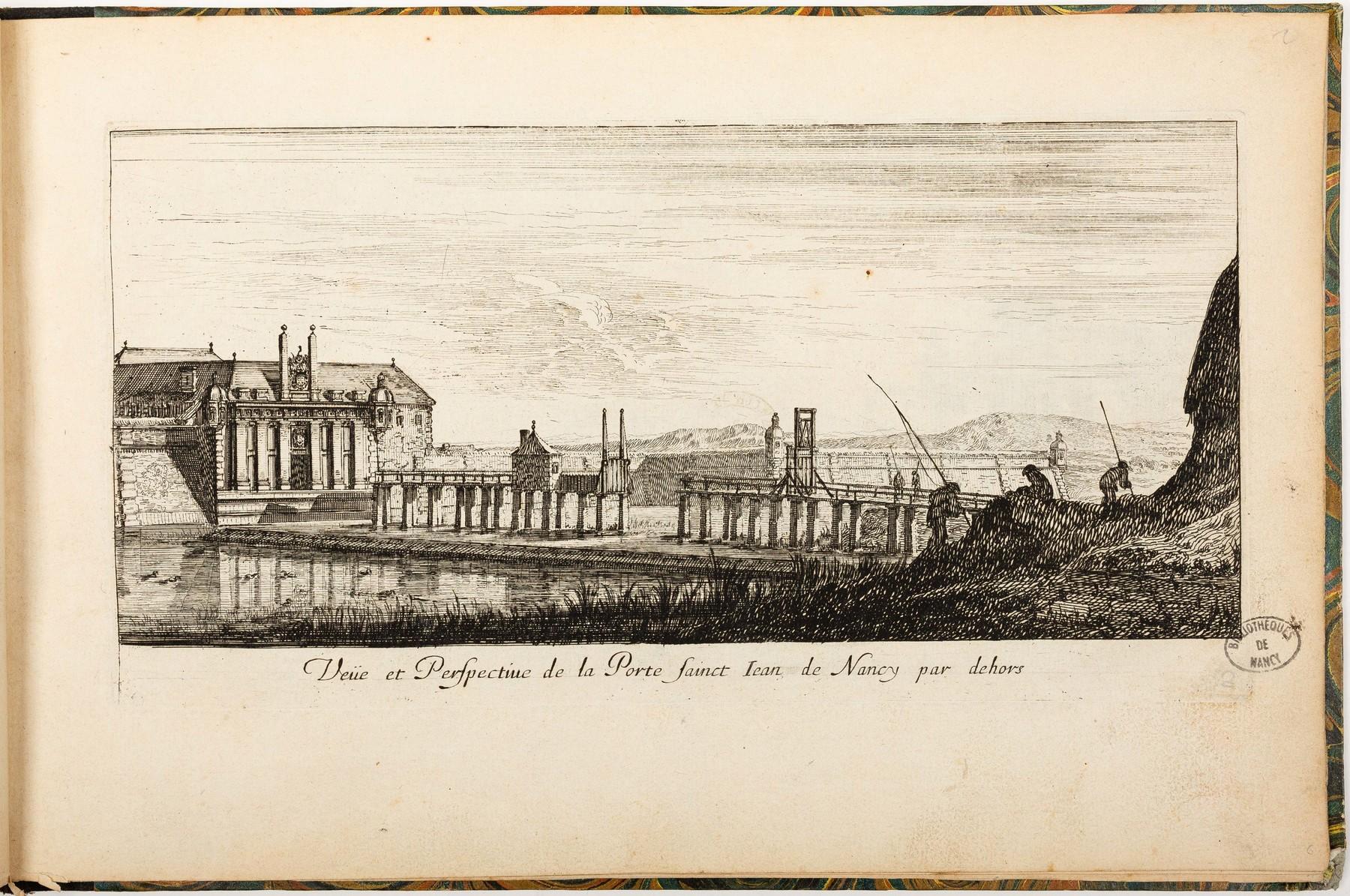 Contenu du Veüe et Perspective de la Porte Sainct Iean de Nancy par dehors