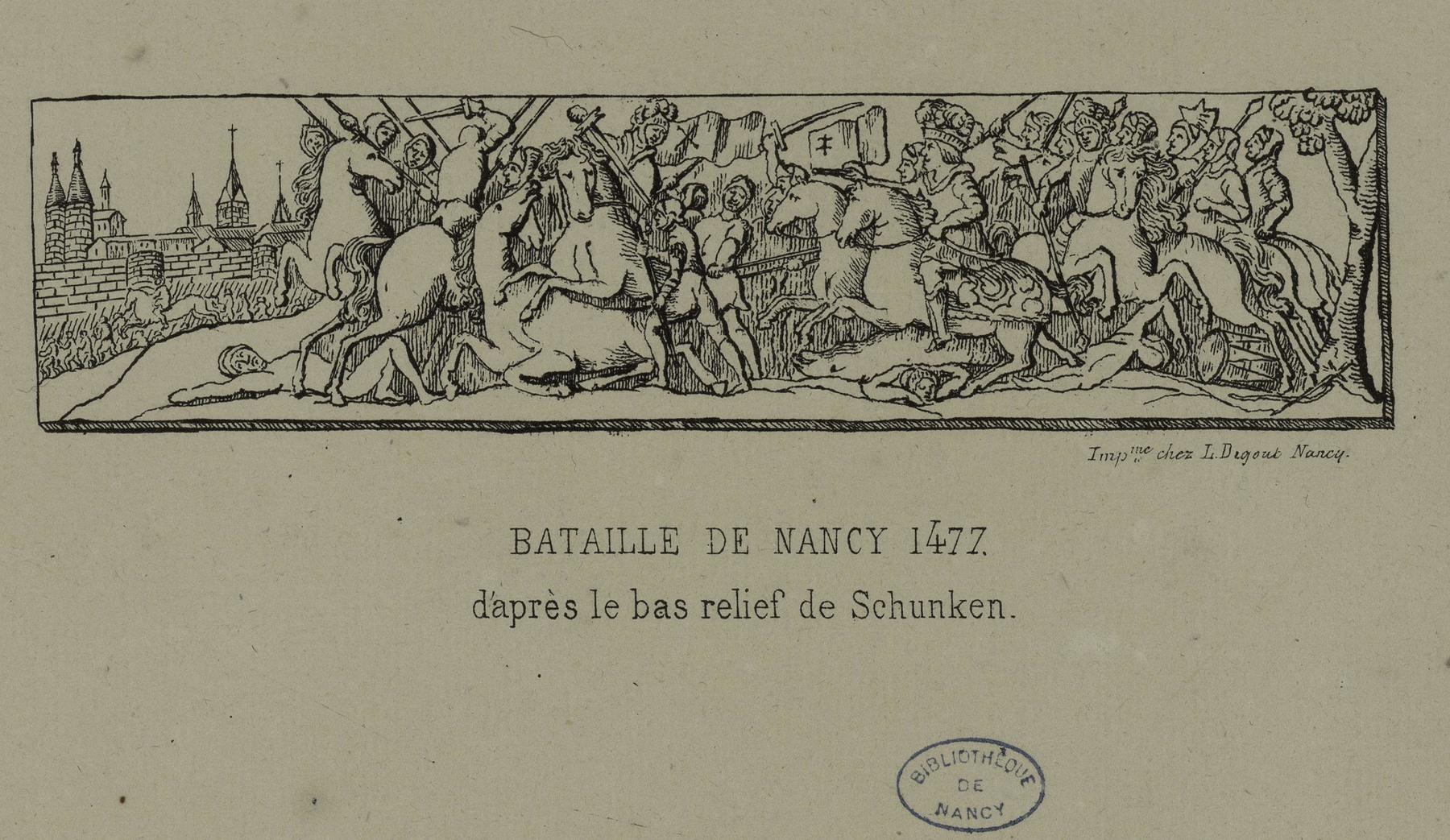 Contenu du Bataille de Nancy 1477 d'après le bas relief de Schunken
