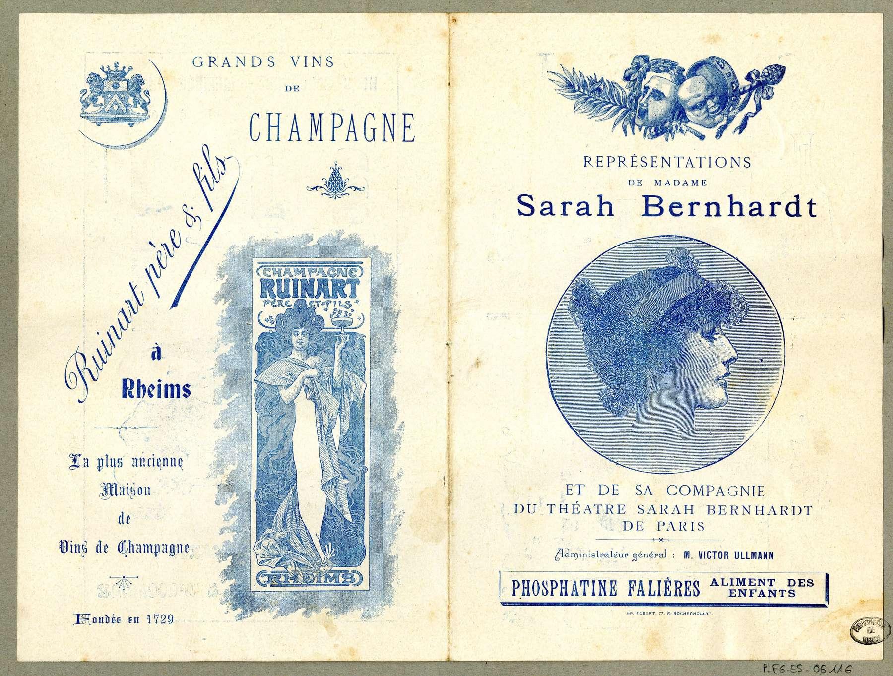 Contenu du Représentations de madame Sarah Bernhardt