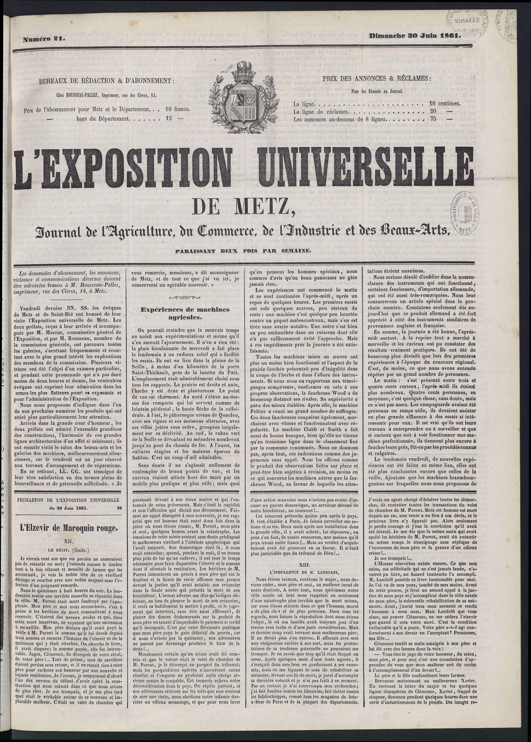 Contenu du L'Exposition universelle de Metz