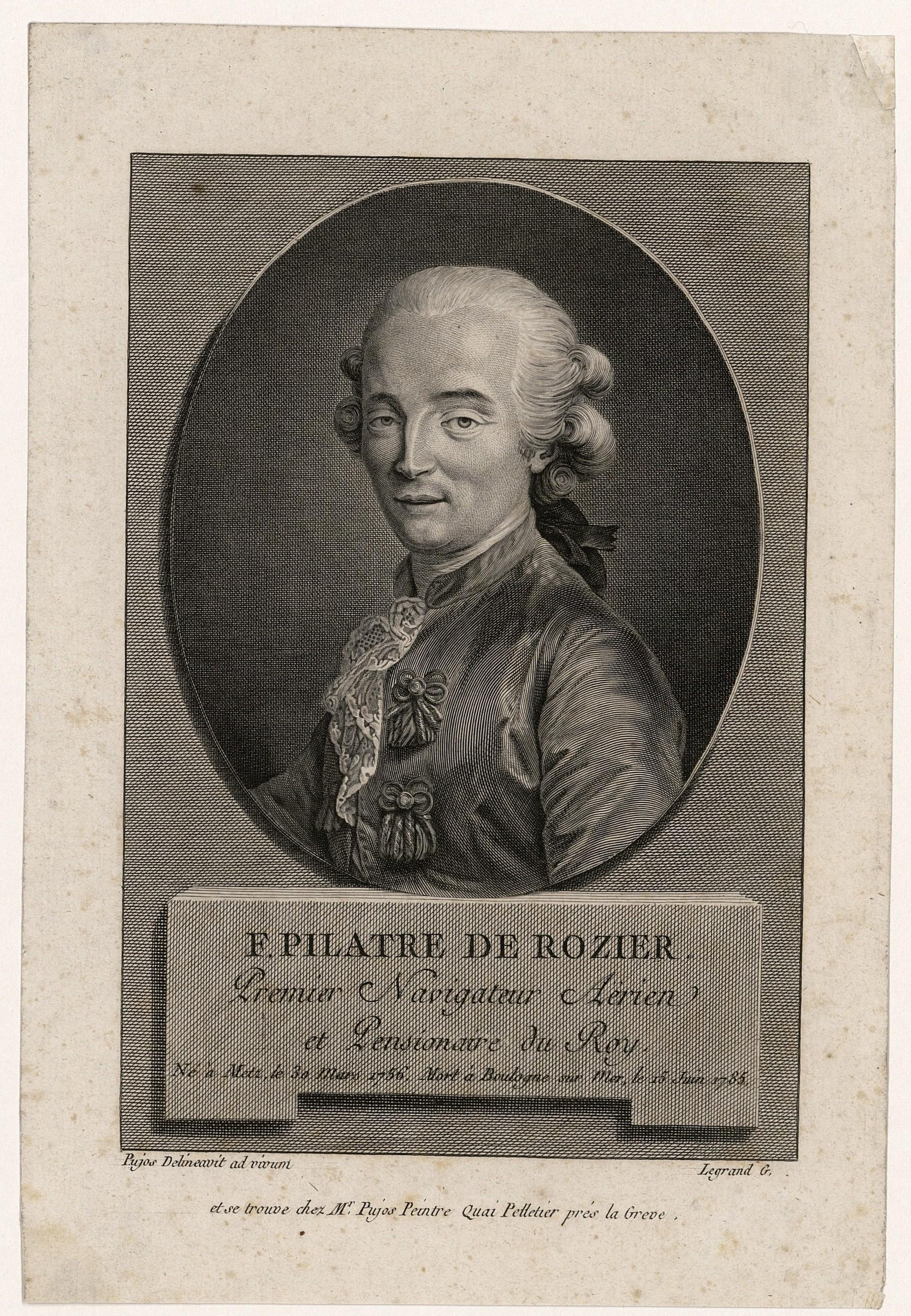 Contenu du F. Pilatre de Rozier : premier navigateur aérien et pensionaire du Roy
