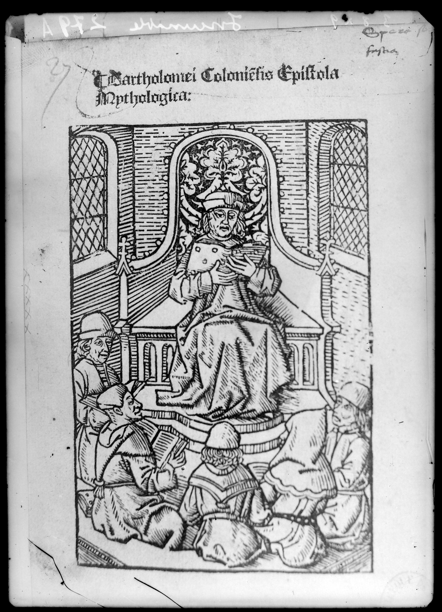 Contenu du Bartholomei Colonielis Epiftola Mythologica