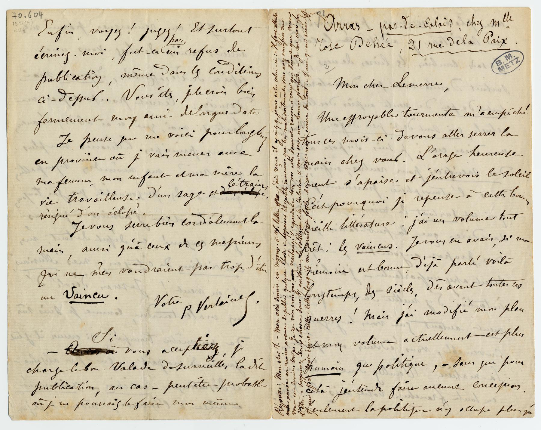 Contenu du Lettre autographe signée à Alphonse Lemerre, avec réponse d'Alphonse Lemerre dans la marge