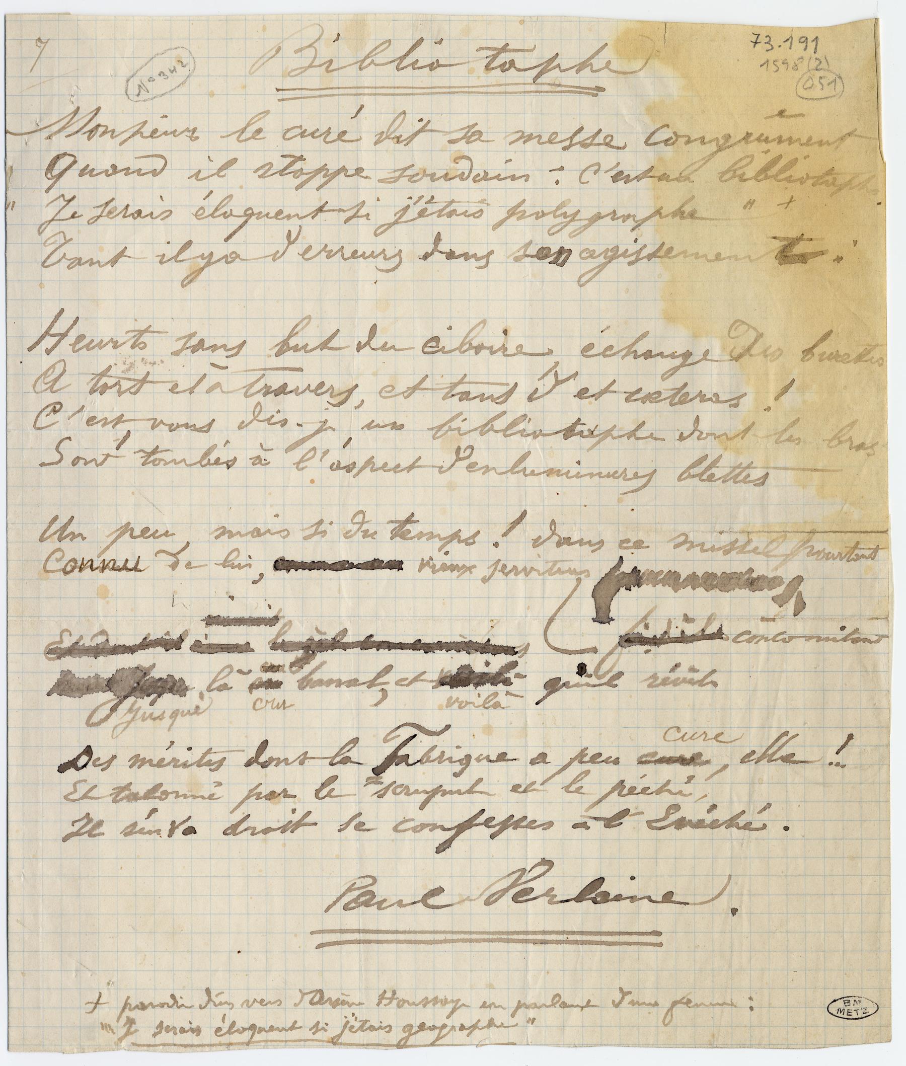 Contenu du «Biblio-taphe», poème manuscrit