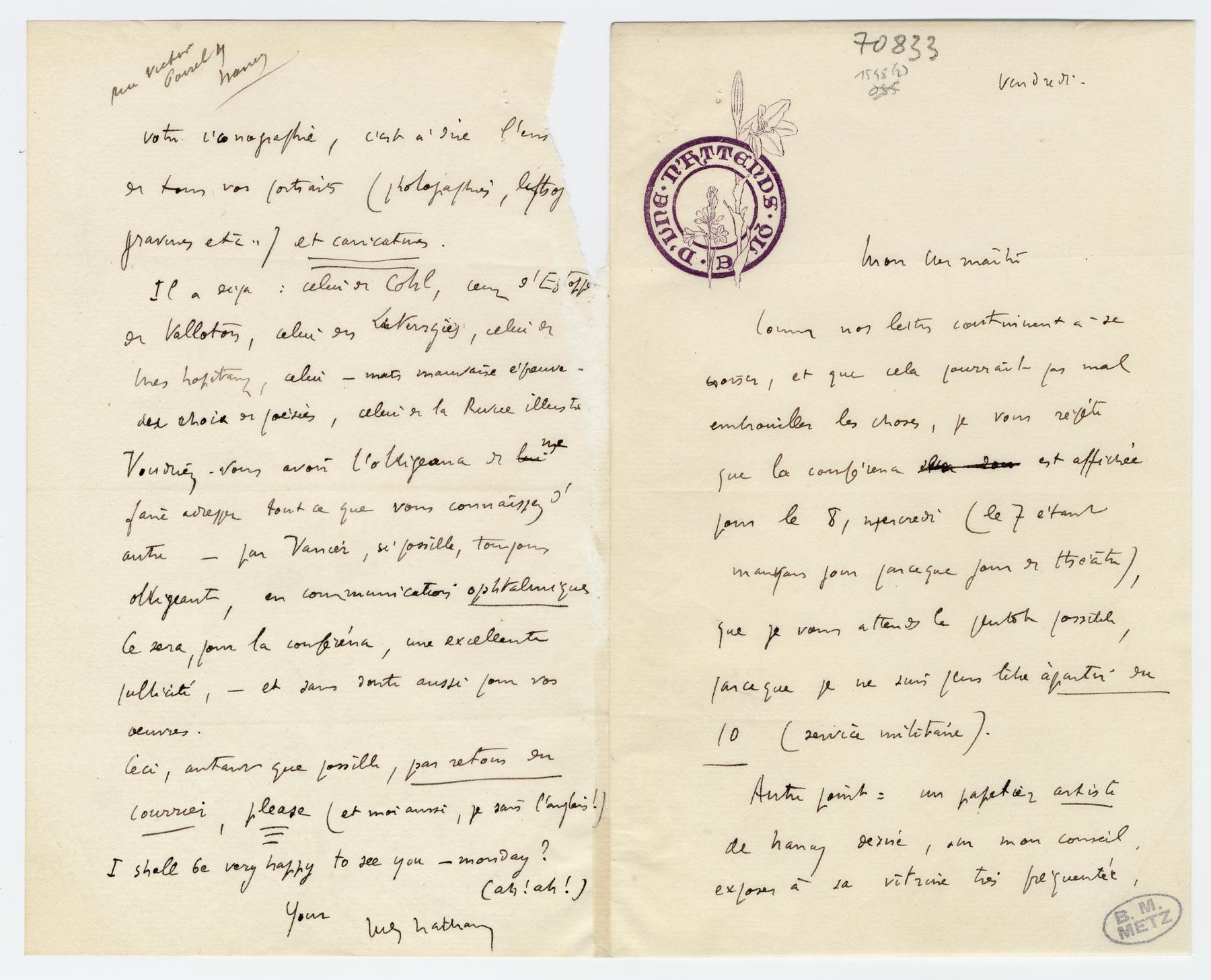 """Contenu du Lettre autographe signée de Jules Rais (signée """"Jules Nathan""""), non datée"""