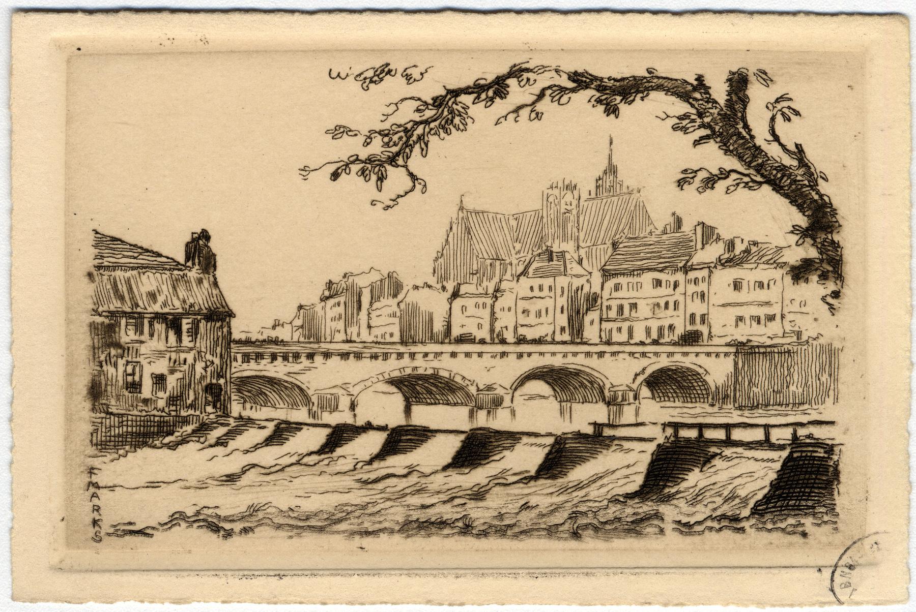 Contenu du La cathédrale Saint-Étienne et le Moyen Pont vus depuis le promontoire du Saulcy