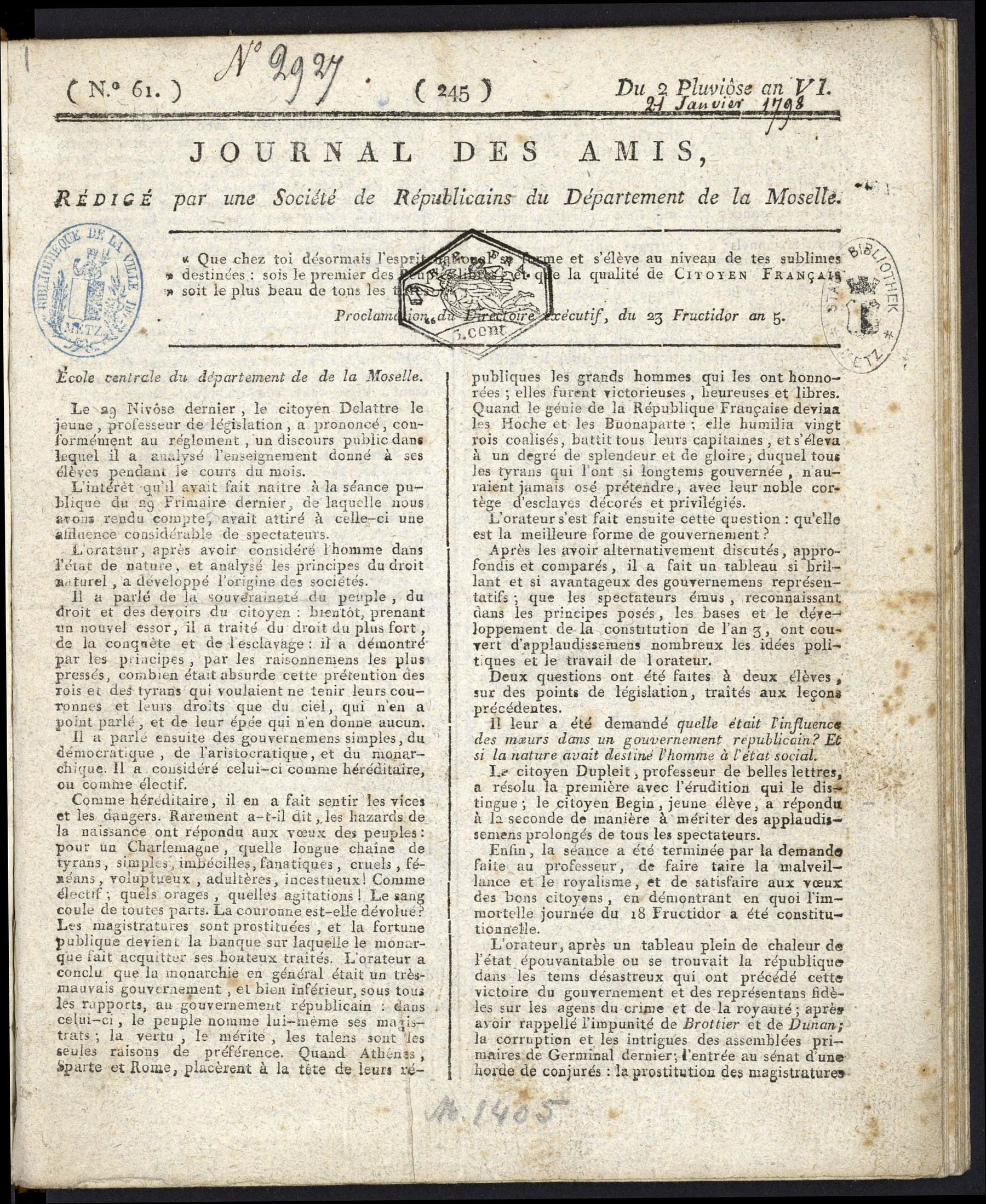 Contenu du Journal des amis