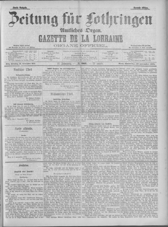 Contenu du Zeitung für Lothringen: Amtliches Organ