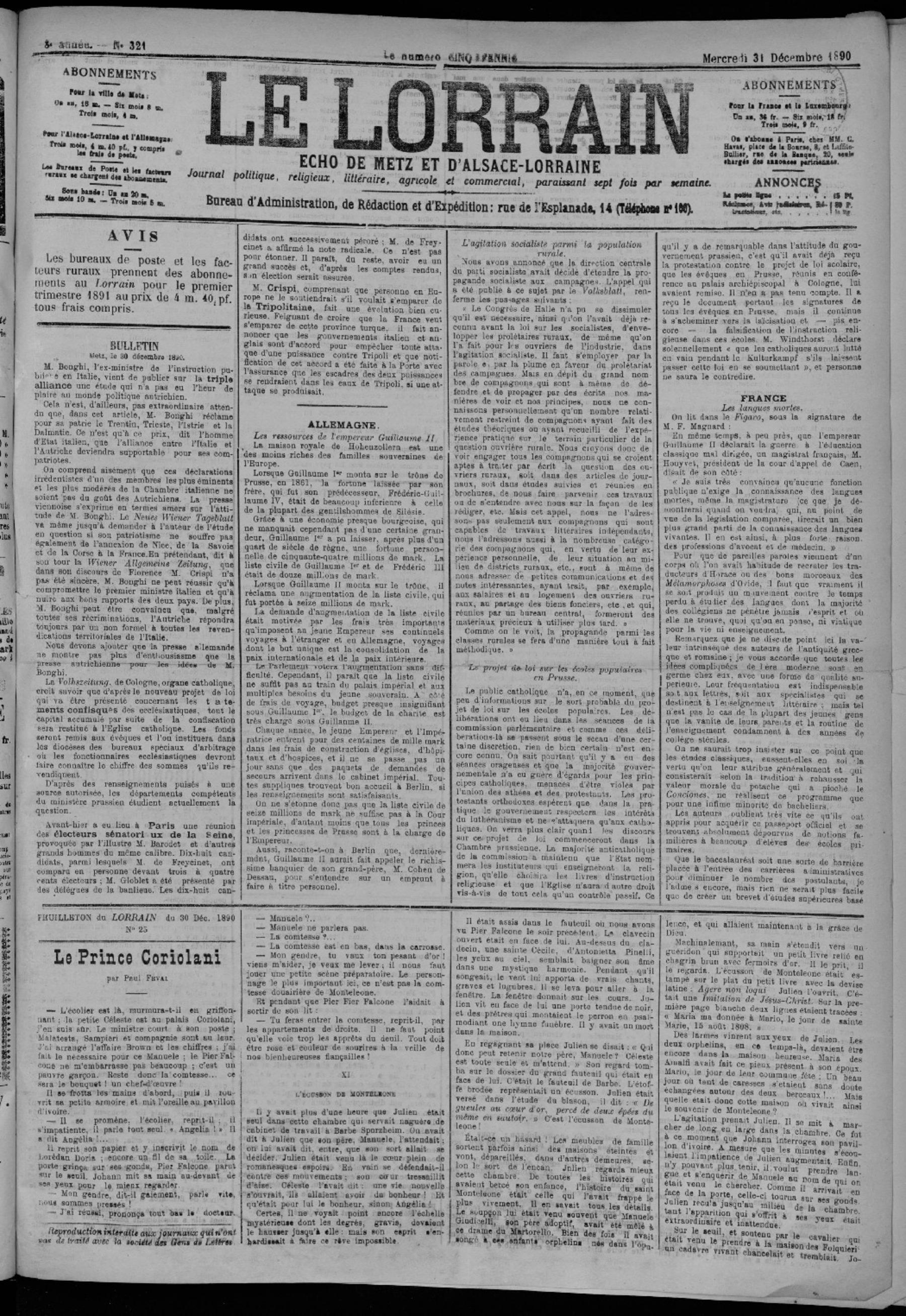 Contenu du Le Lorrain écho de Metz et d'Alsace-Lorraine : journal politique, religieux, littéraire, agricole et commercial