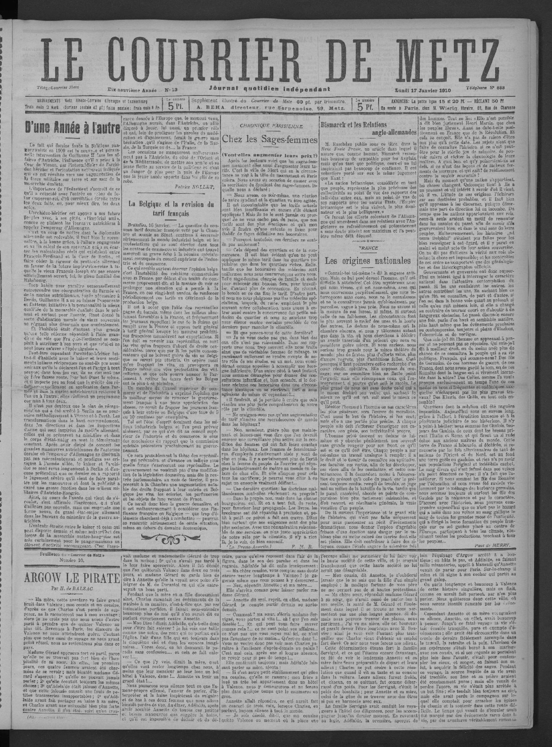 Contenu du Le Courrier de Metz: Journal quotidien indépendant