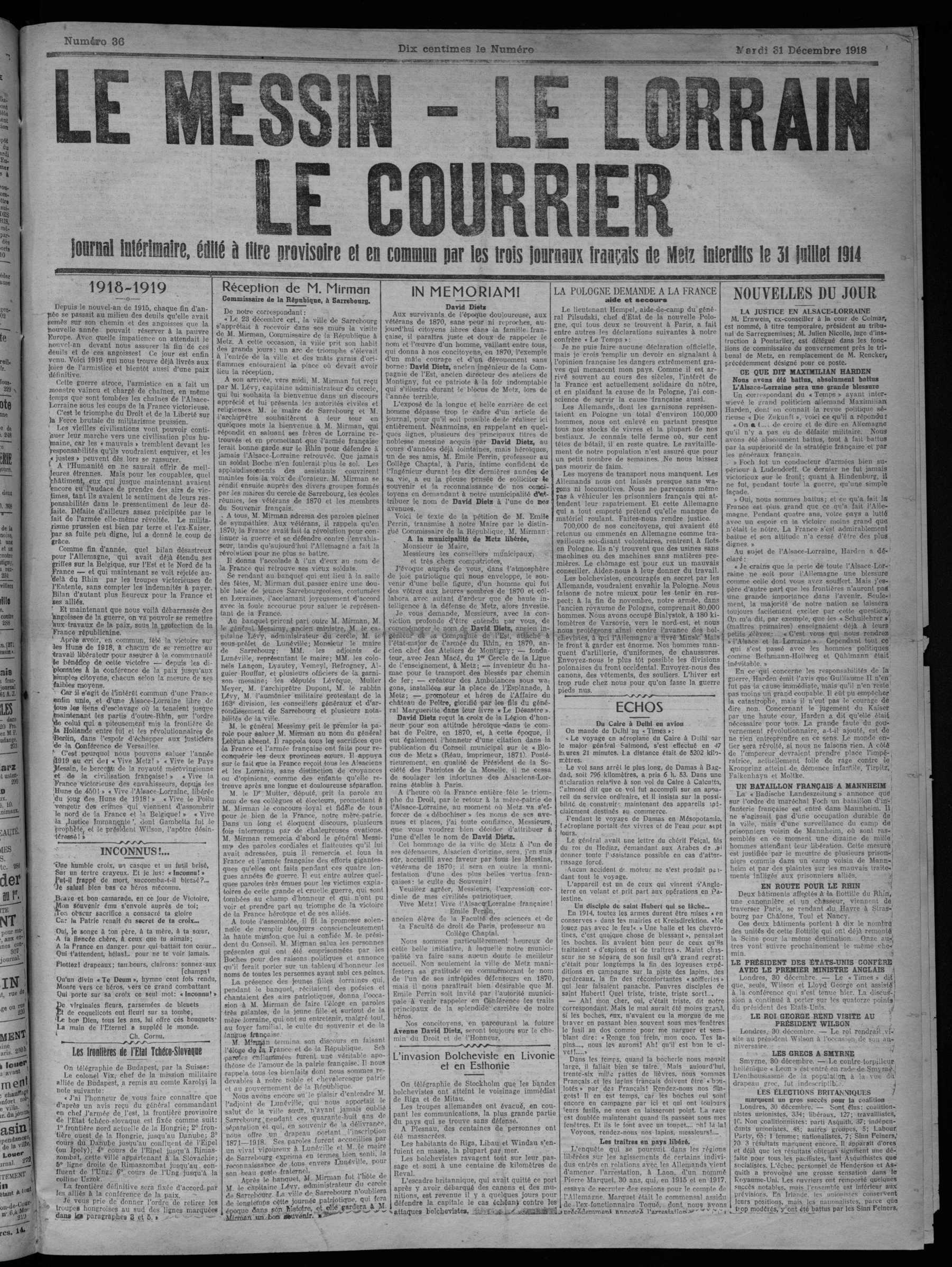 Contenu du Le Messin, Le Lorrain, Le Courrier