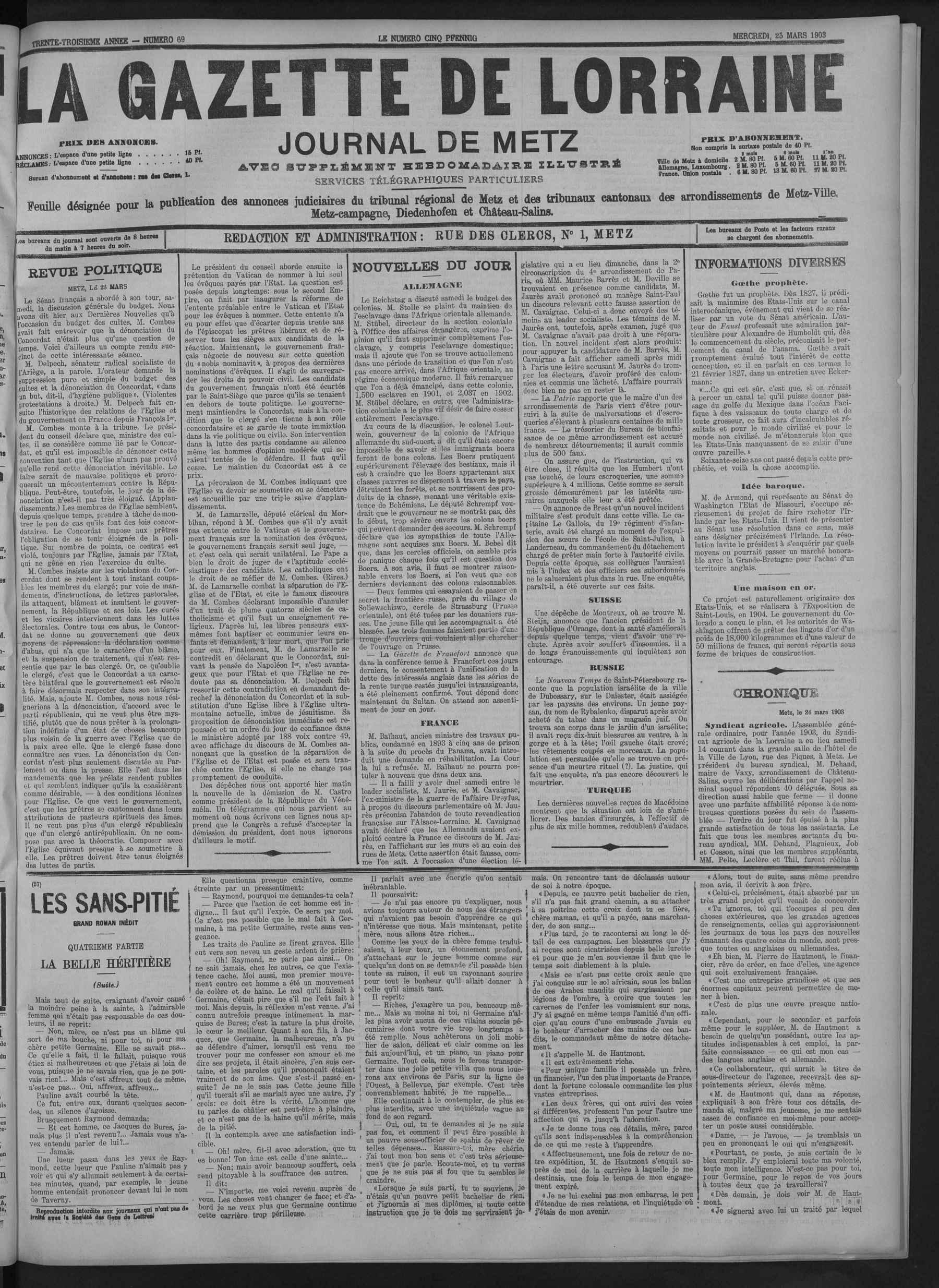Contenu du La Gazette de Lorraine journal de Metz
