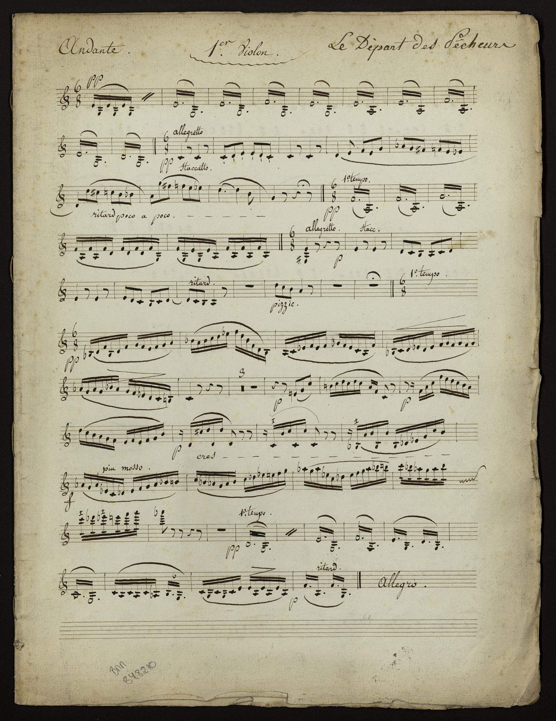 Contenu du Le départ des Pêcheurs : ensemble de partions d'orchestre