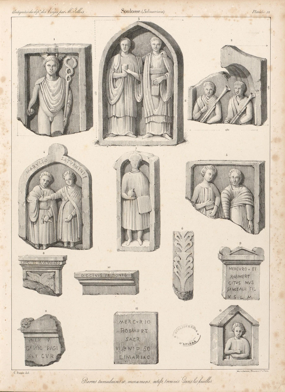 Contenu du Soulosse. Pierres tumulaires et monumen[t]s votifs, trouvés dans les fouilles