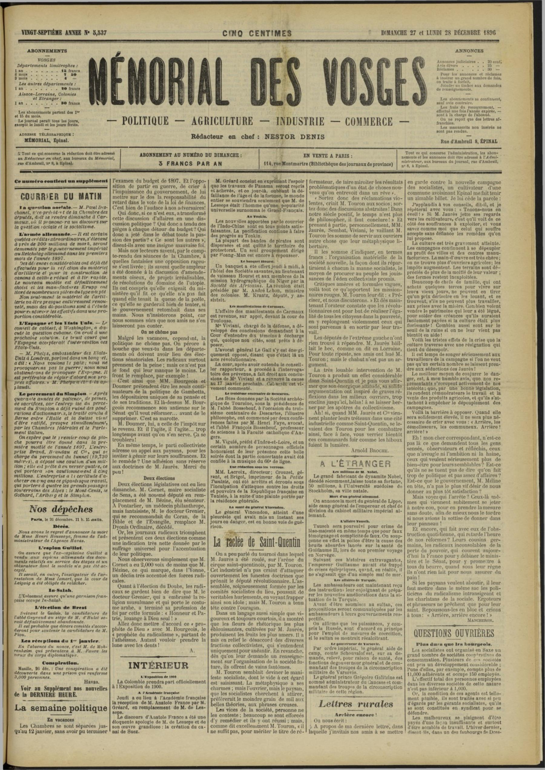 Contenu du Le Mémorial des Vosges : politique, agriculture, industrie, commerce