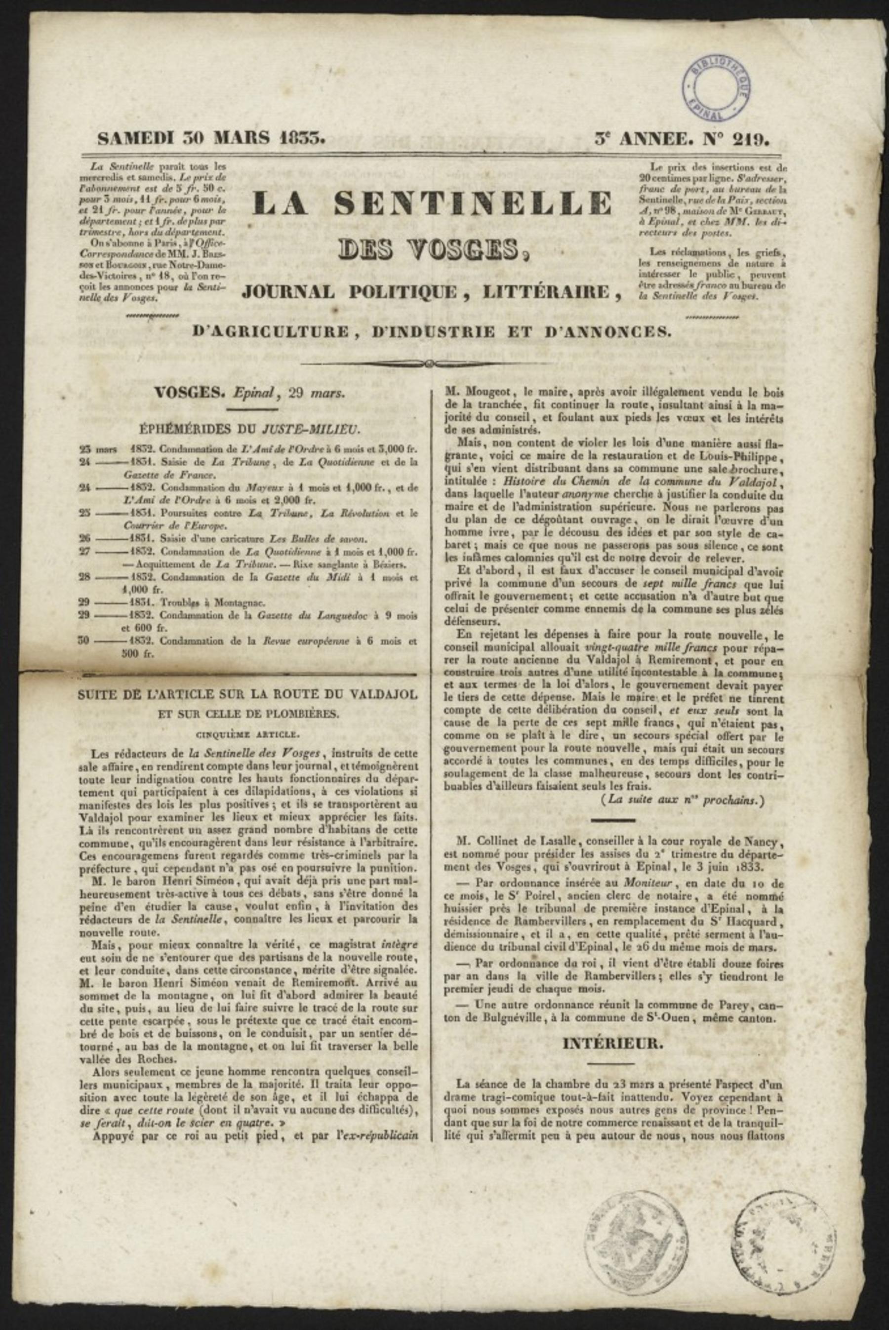 Contenu du La Sentinelle des Vosges : journal politique, littéraire, d'agriculture, d'industrie et d'annonces