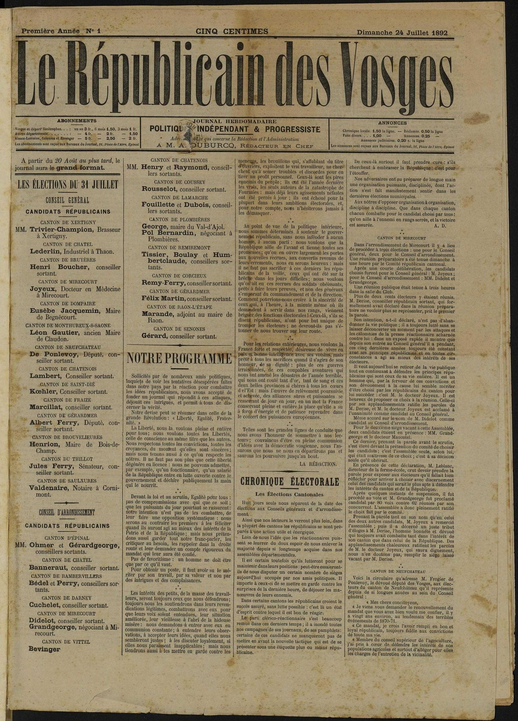 Contenu du Le Républicain des Vosges, journal hebdomadaire, politique, indépendant et progressiste