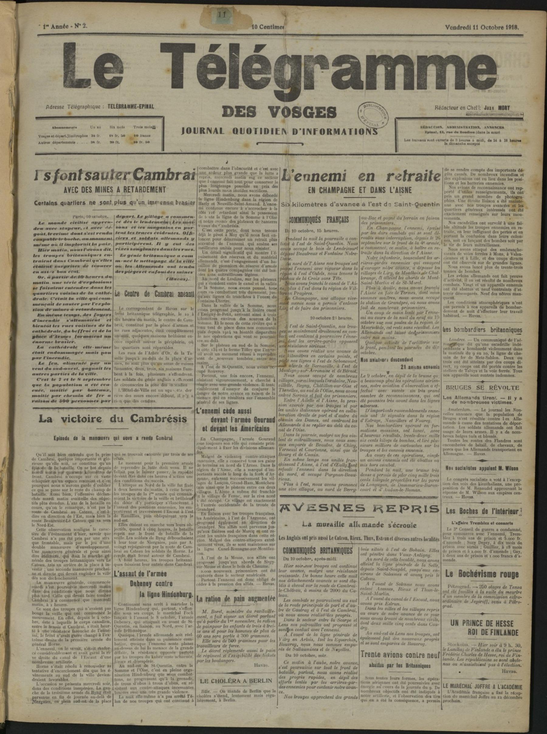 Contenu du Le Télégramme des Vosges