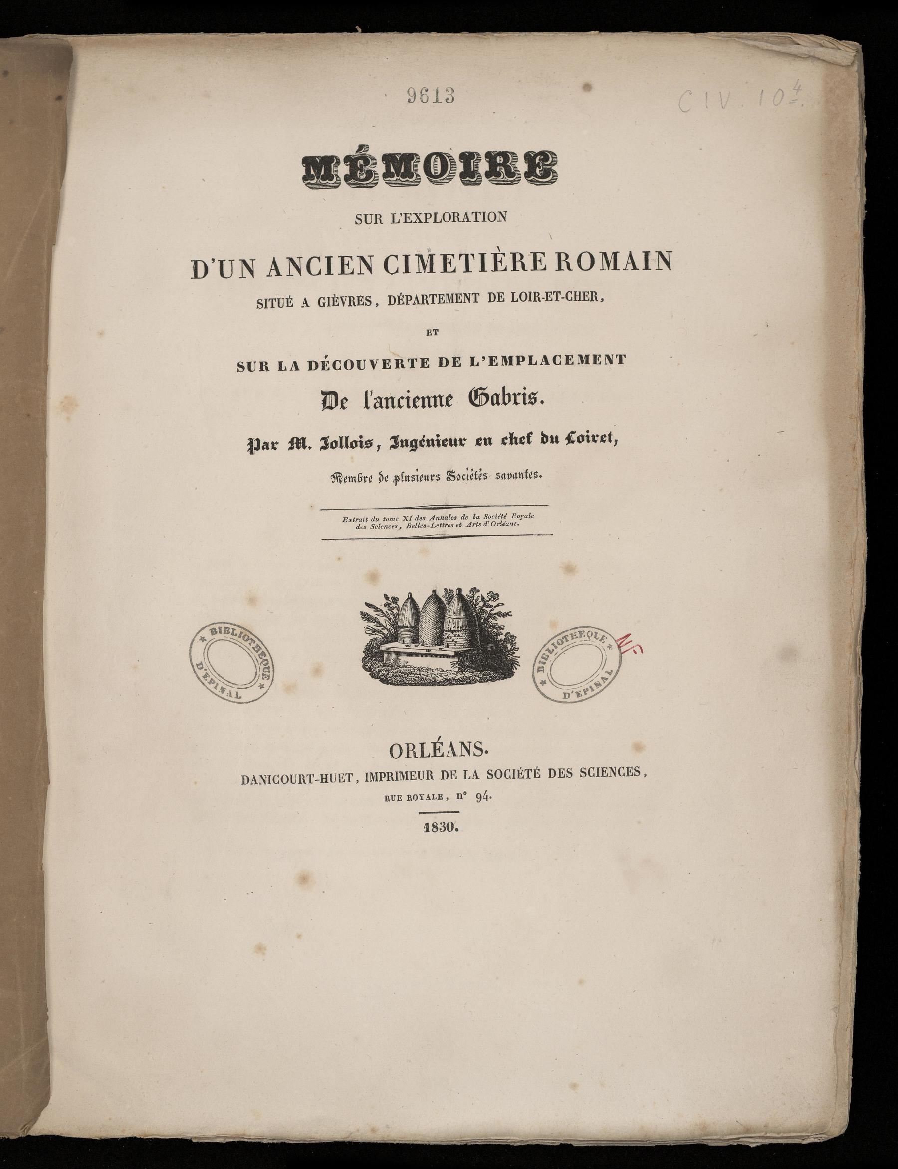 Contenu du Mémoire sur l'exploration d'un ancien cimetière romain situé à Gièvres, département de Loir-et-Cher, et sur la découverte de l'emplacement de l'ancienne Gabris
