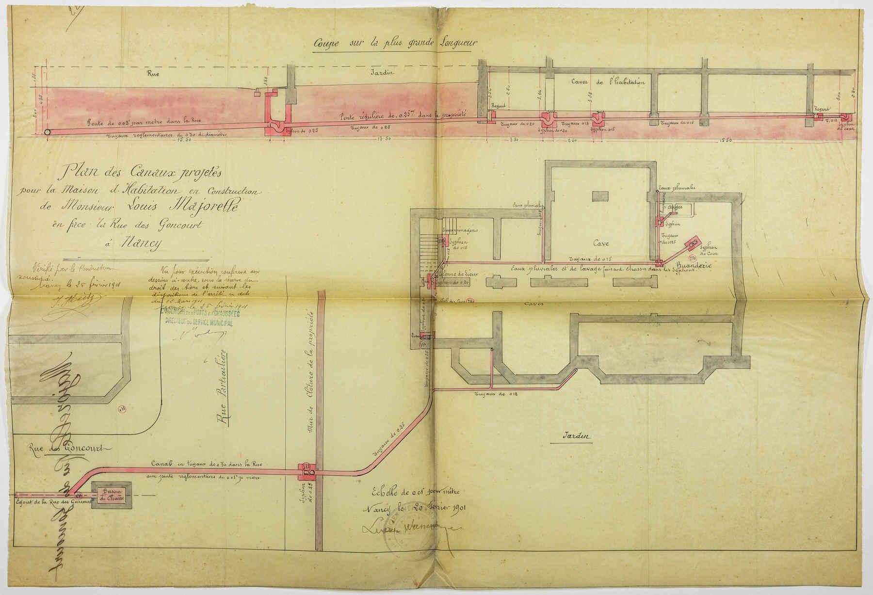 Contenu du Plan des canaux projetés pour la maison d'habitation en construction de monsieur Louis Majorelle en face de la rue des Goncourt à Nancy