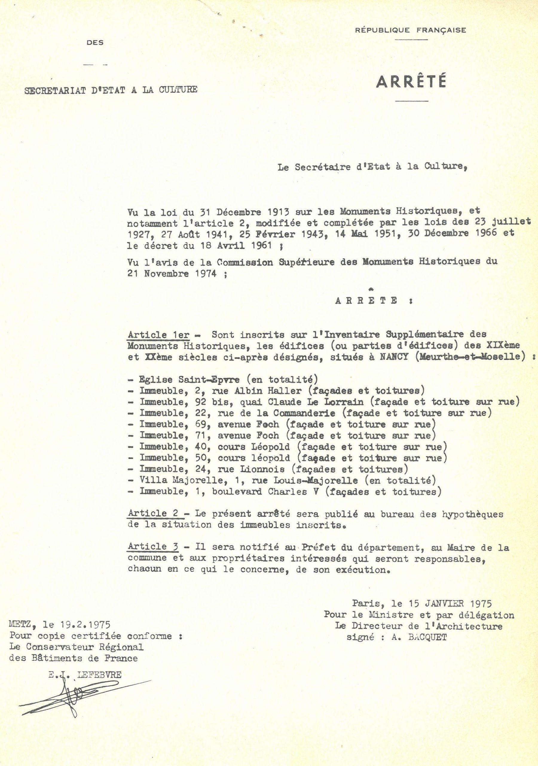 Contenu du Arrêté du Secrétariat d'État à la Culture inscrivant sur l'Inventaire Supplémentaire des Monuments Historiques certains édifices de Nancy