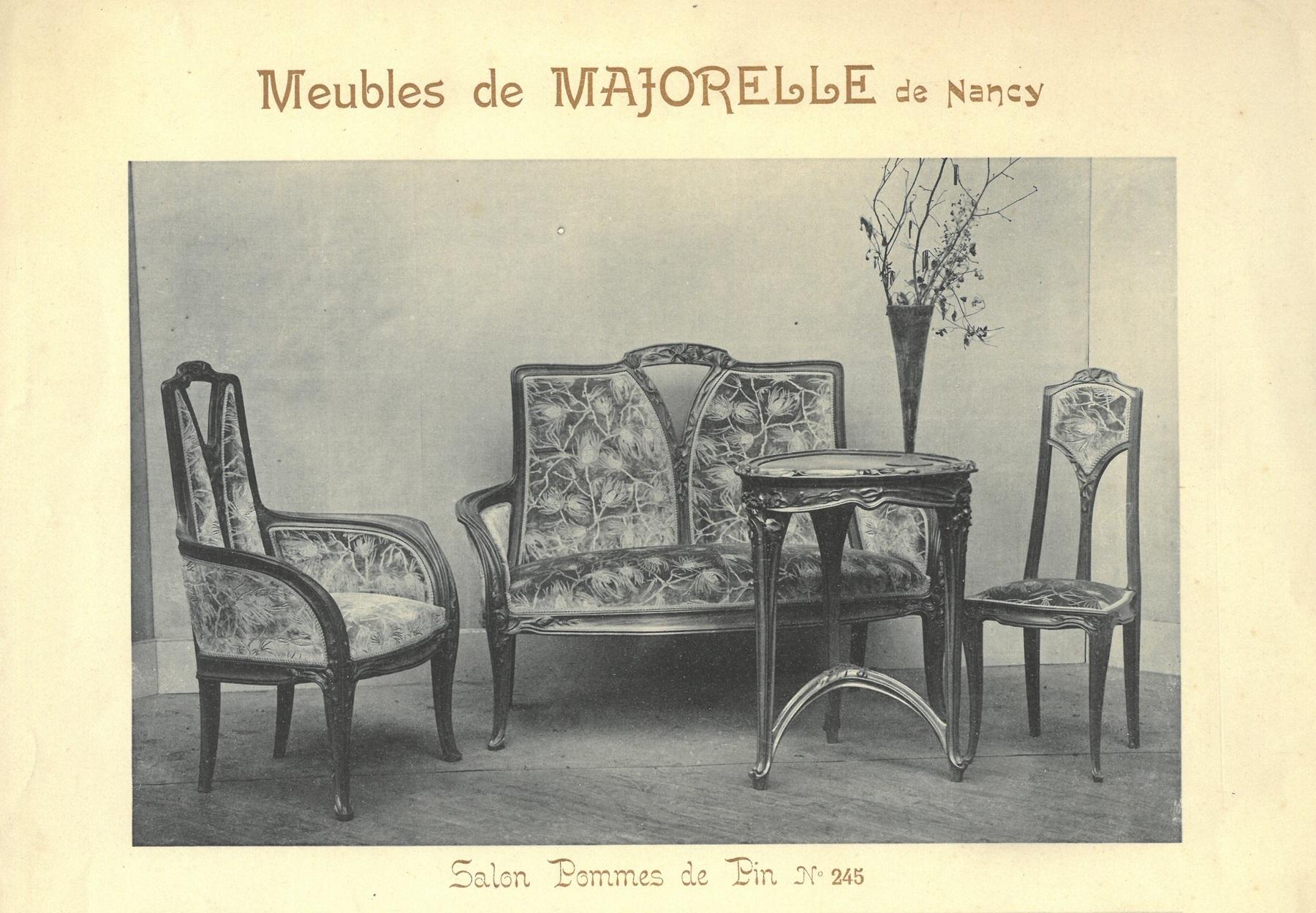 Contenu du Meubles de Majorelle de Nancy. Salon Pommes de Pin