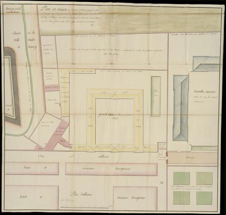 Plan en masses d'un emplacement proposé pour y construire un hôpital milit…
