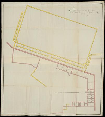 Plan des fondations de l'hôpital militaire proposé de construire à l'empla…