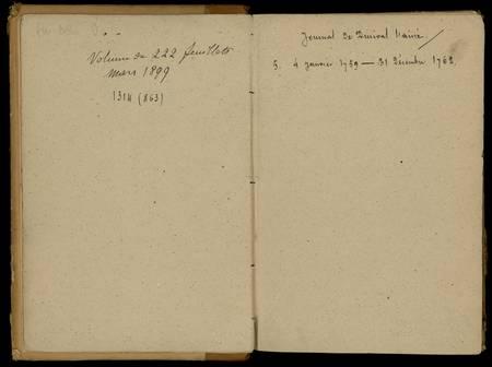 Journal de Durival l'aîné. 5 : 4 janvier 1759 - 31 décembre 1762