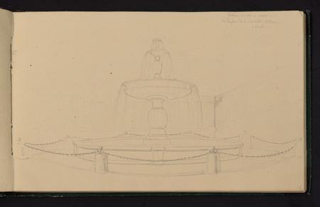 Fontaine exécutée en marbre sur la place de la nouvelle Athènes à Paris