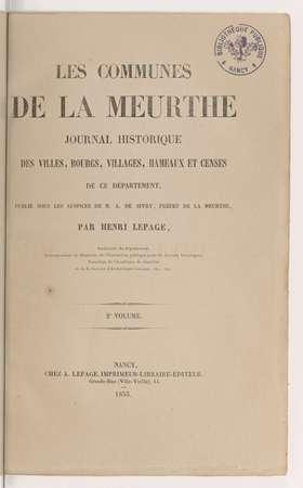 Les communes de la Meurthe : journal historique des villes, bourgs, villag…