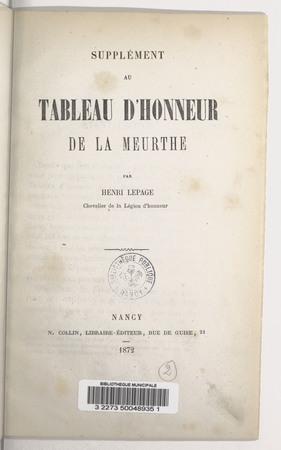 Supplément au tableau d'honneur de la Meurthe