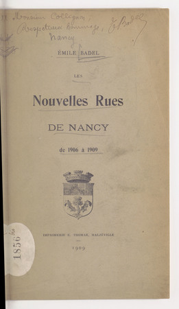 Les nouvelles rues de Nancy : de 1906 à 1909