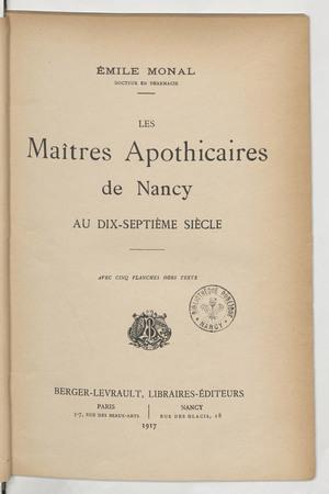 Les maitres apothicaires de Nancy au XVIIe siècle