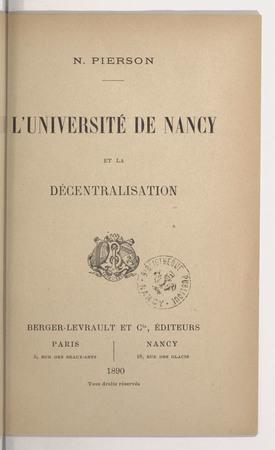 L'université de Nancy et la décentralisation