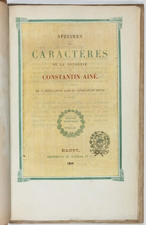 Spécimen des caractères de la fonderie de Constantin ainé, successeur de V…