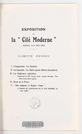 """Exposition de la """"Cité moderne"""", Nancy, 4-17 mai 1913 : compte rendu"""