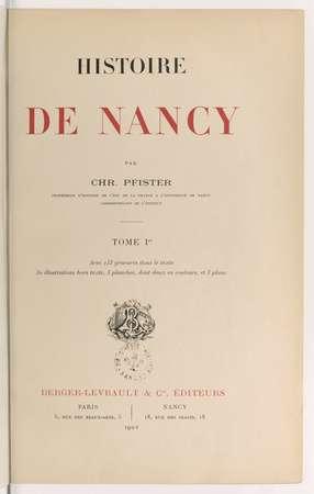 Histoire de Nancy. Tome Ier