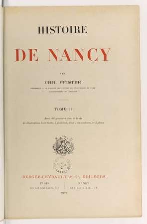 Histoire de Nancy. Tome II