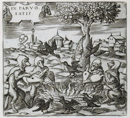 Des loups soufflent sur un brasier entouré de corbeaux