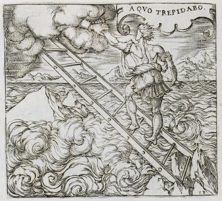 Homme gravissant une échelle qui se perd dans les nuages, tiré par la main…
